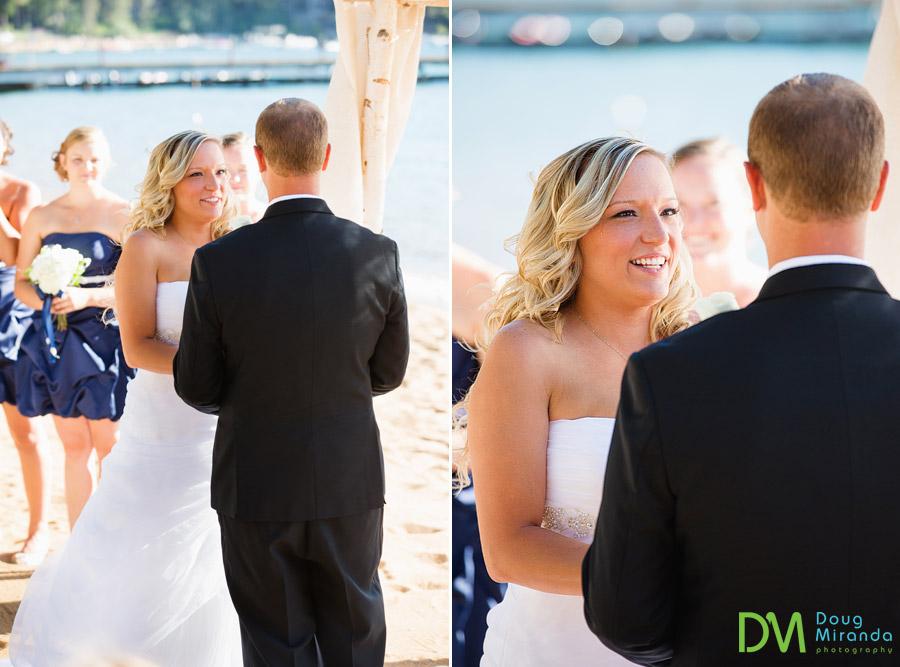 Kelsey at her lake tahoe beach wedding holding travis's hands