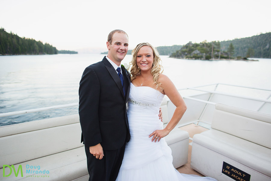 lake tahoe boat wedding photos from emerald bay