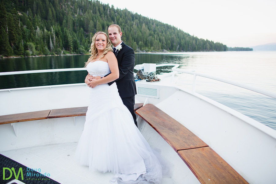 wedding photos of a tahoe paradise boat wedding in emerald bay
