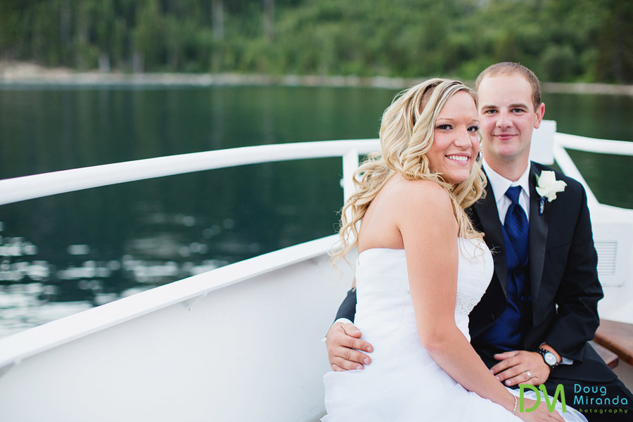 wedding photos of kelsey and travis on the tahoe paradise boat
