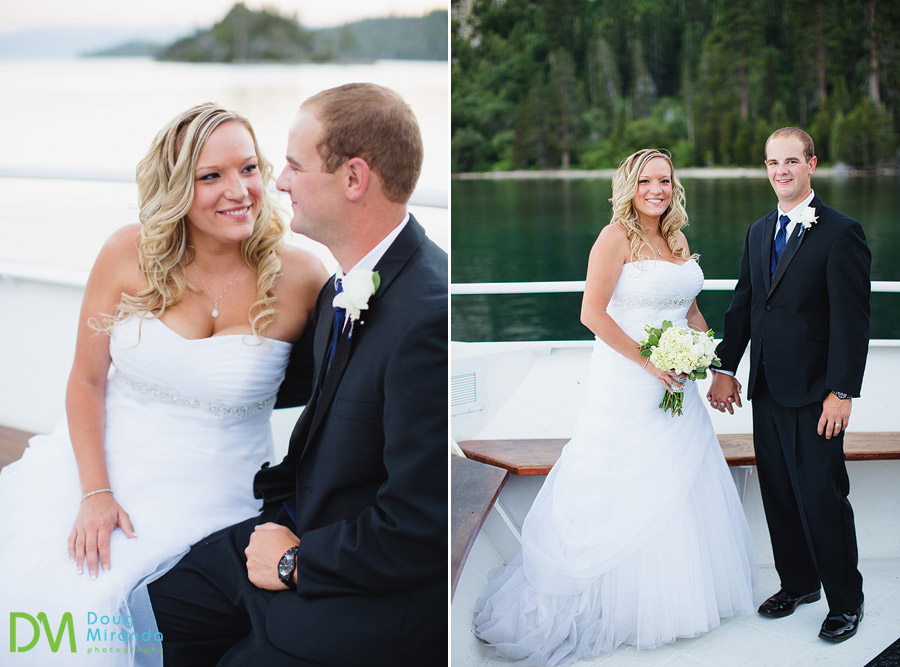 tahoe paradise boat wedding photos of a couple in emerald bay