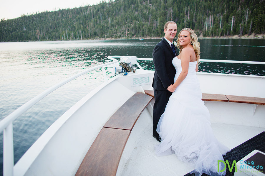 tahoe paradise boat wedding photos of a couple on the bow of the boat