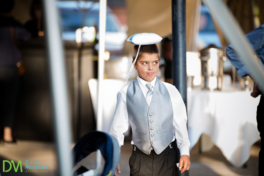 the ring bearer goofing off