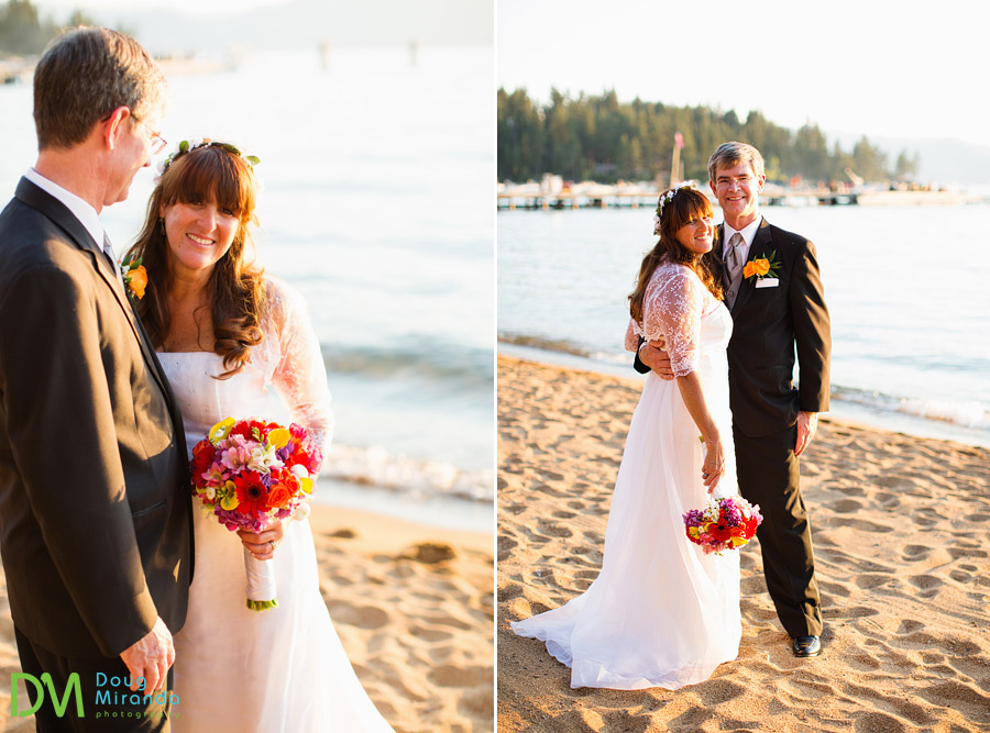 a couple holding hands during their lake tahoe beach wedding