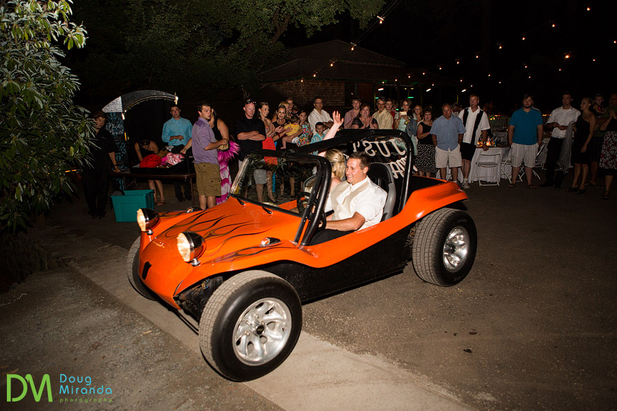 married get away buggy at melissa and jerrid's wedding