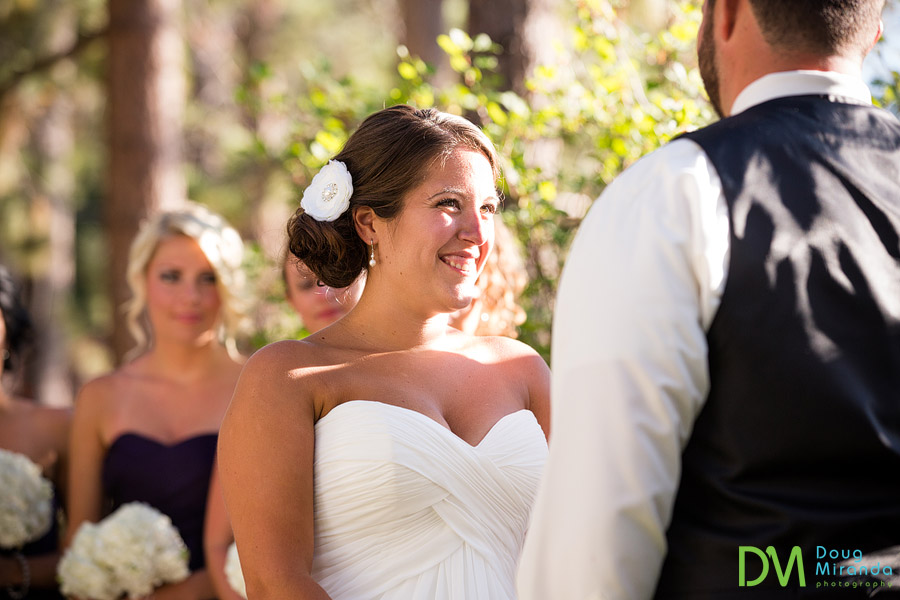 carissa smiling at chris during the ceremony