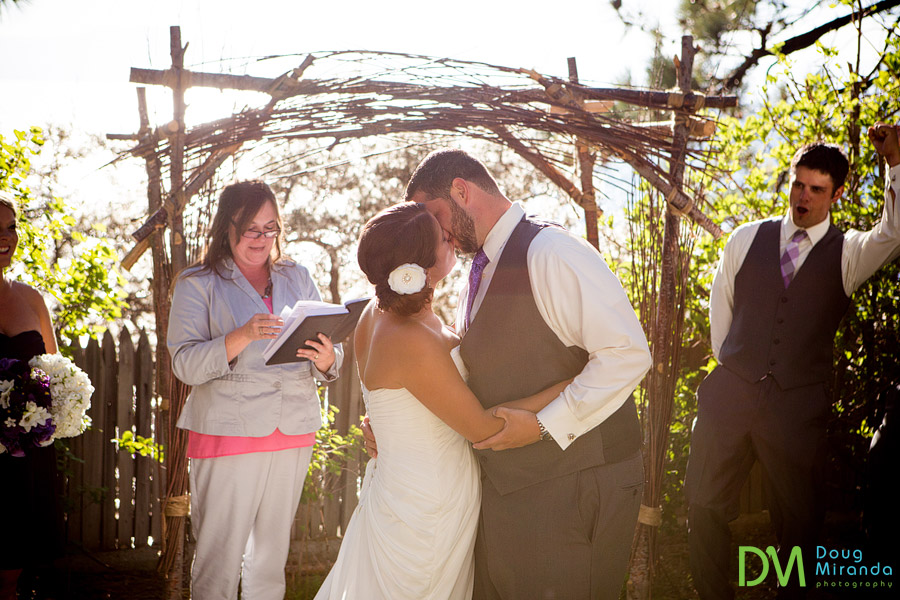 kissing at the end of their ceremony