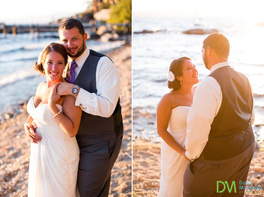 sunset wedding photos on lake tahoe