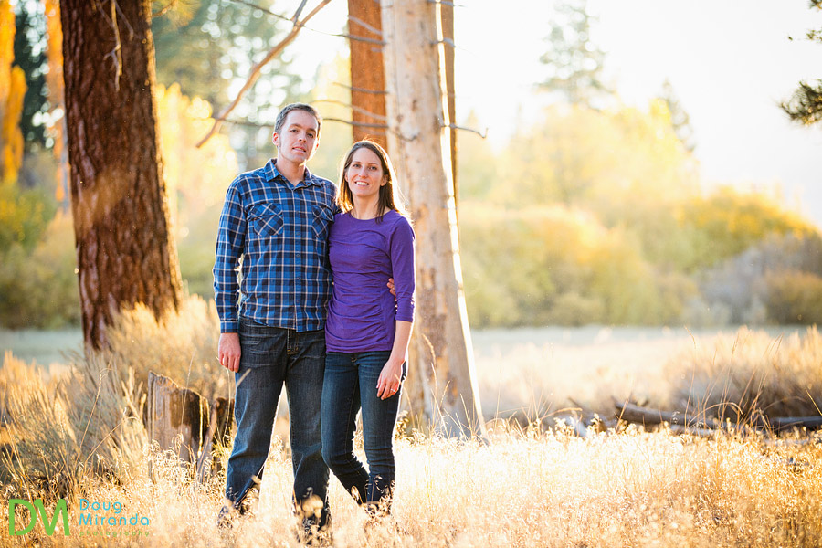 lake tahoe engagement photography of a couple in a field