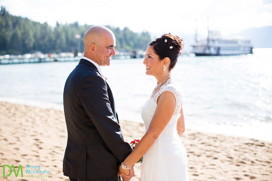lake tahoe beach wedding photos