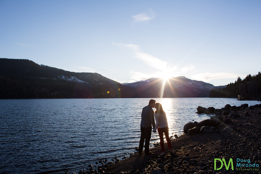 donner lake engagement session at sunset