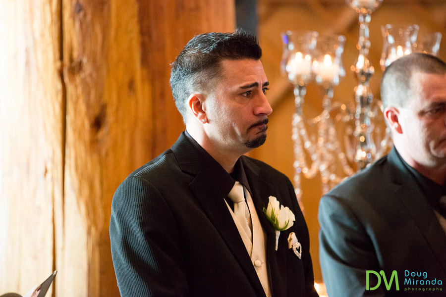 a crying groom during his ceremony