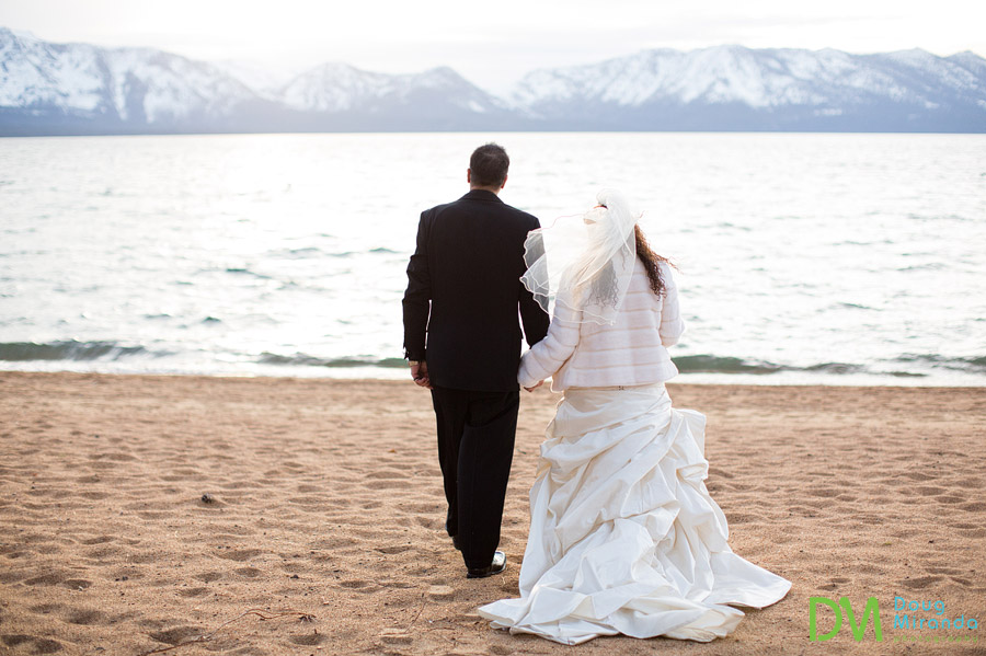edgewood tahoe winter wedding photos of a couple at sunset