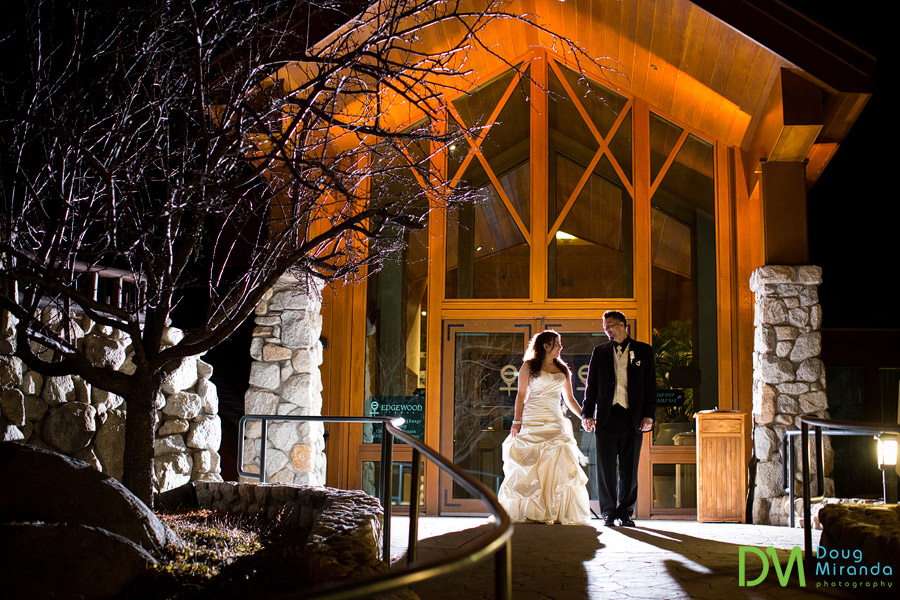edgewood tahoe winter wedding photos of a couple outside at night