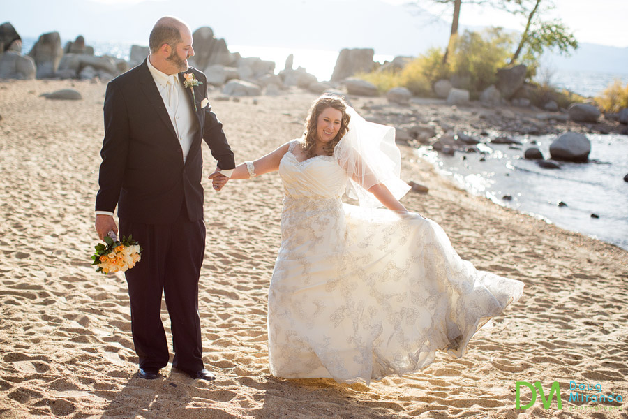 a fall lake tahoe bride has fun with her dress