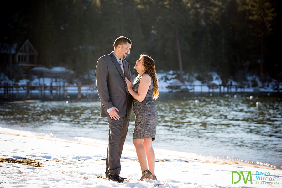 lake tahoe winter engagement photography
