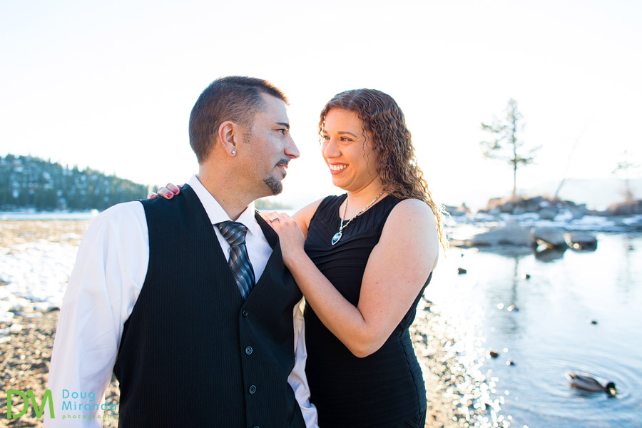 winter engagement photography lake tahoe