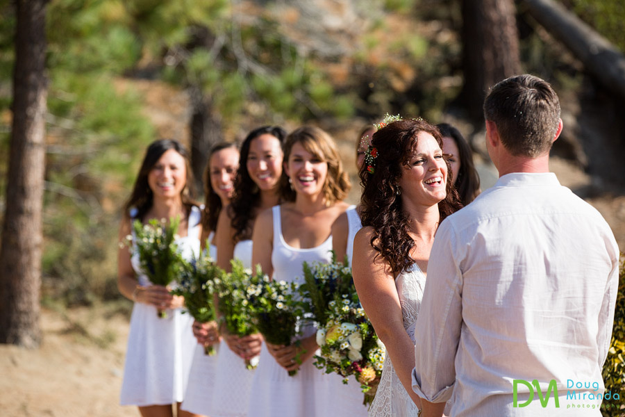 a laughing bride during her lake tahoe beach wedding
