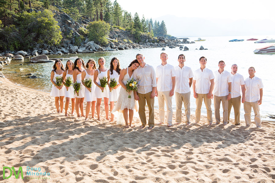 bridal party on the beach at round hill pines beach wedding