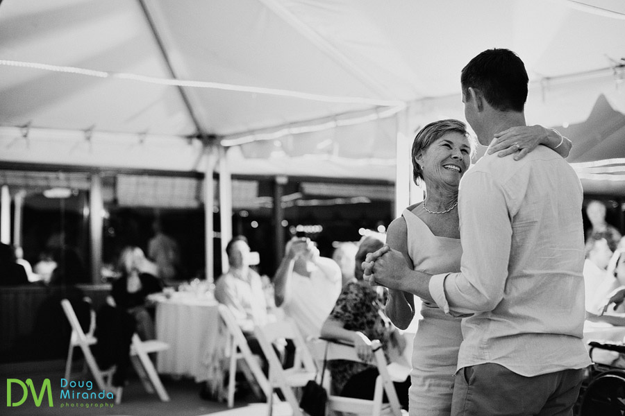 mother son dance at round hill pines beach wedding
