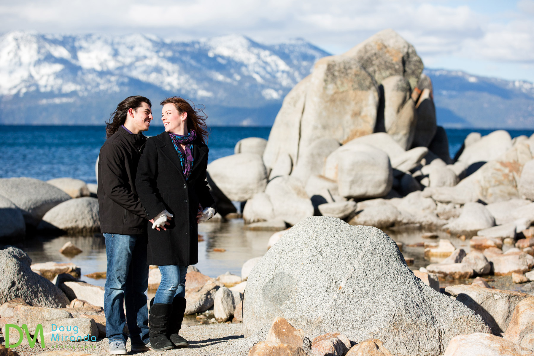 lake tahoe winter engagement photos