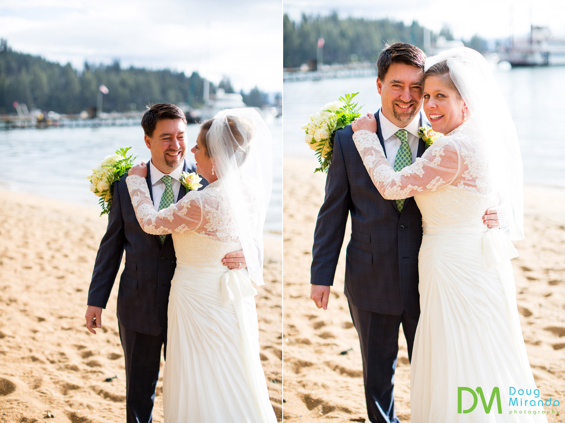 south lake tahoe beach wedding photos
