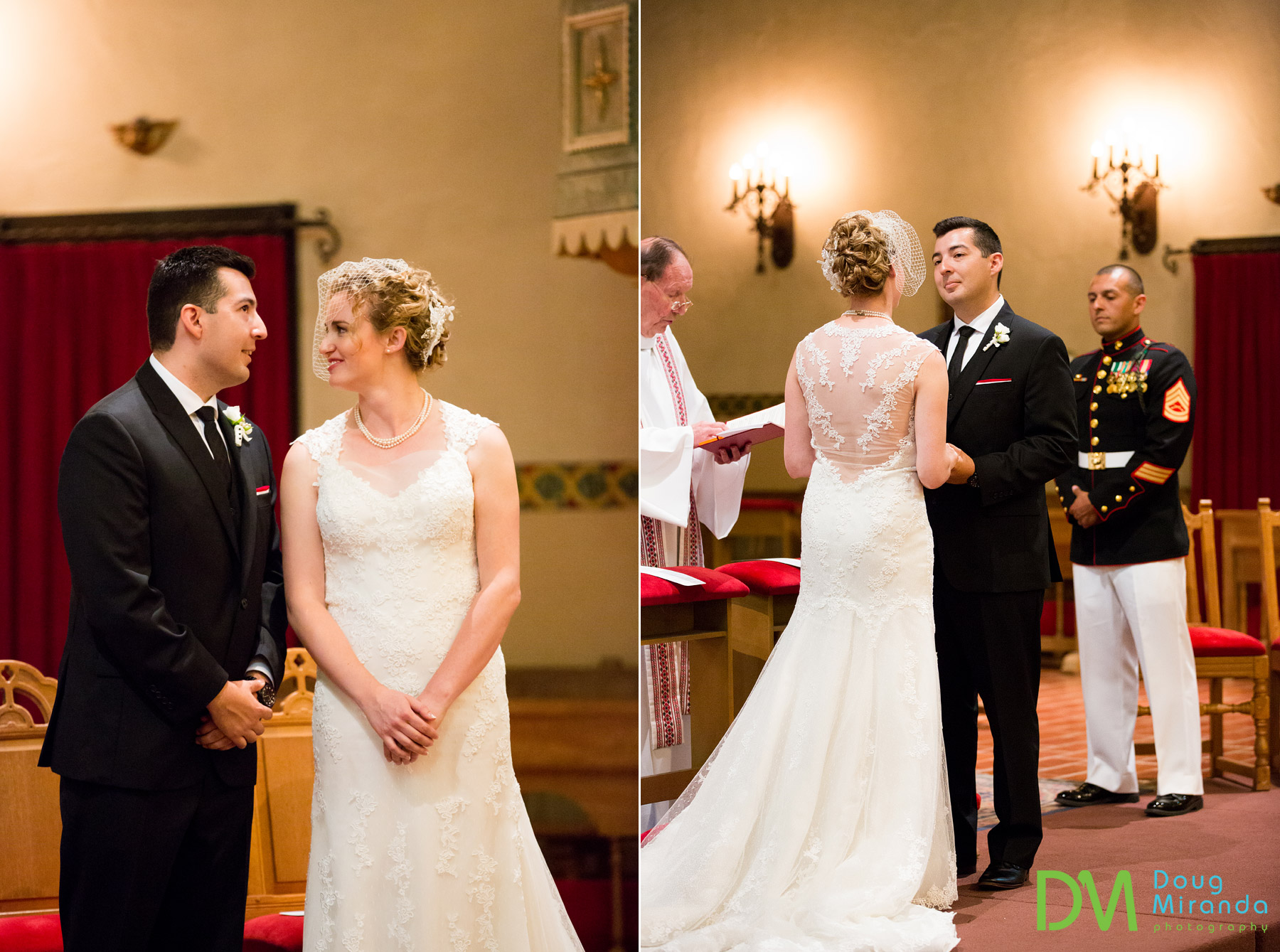 wedding photos of santa clara university mission ceremony