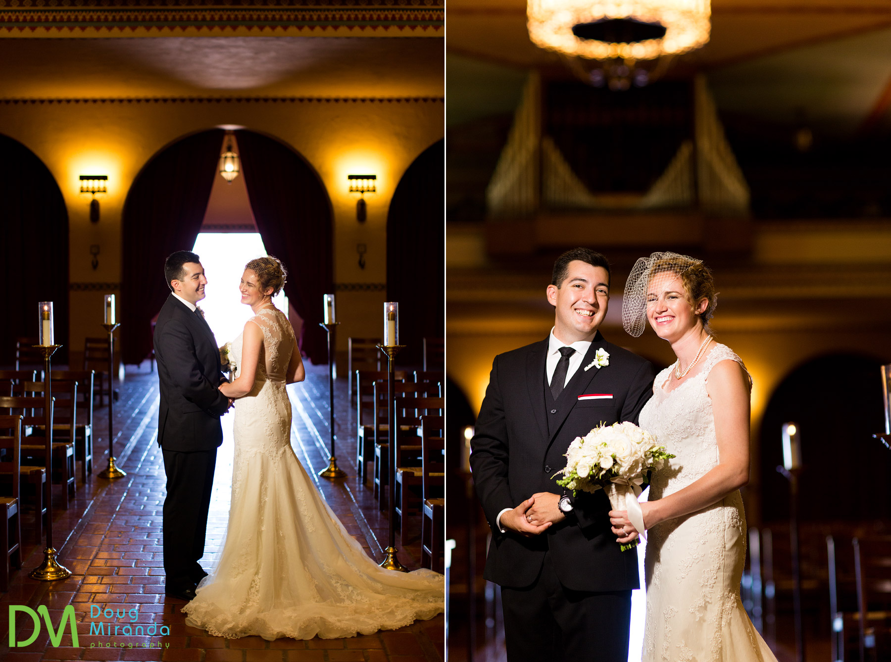 wedding photos of a santa clara university ceremony