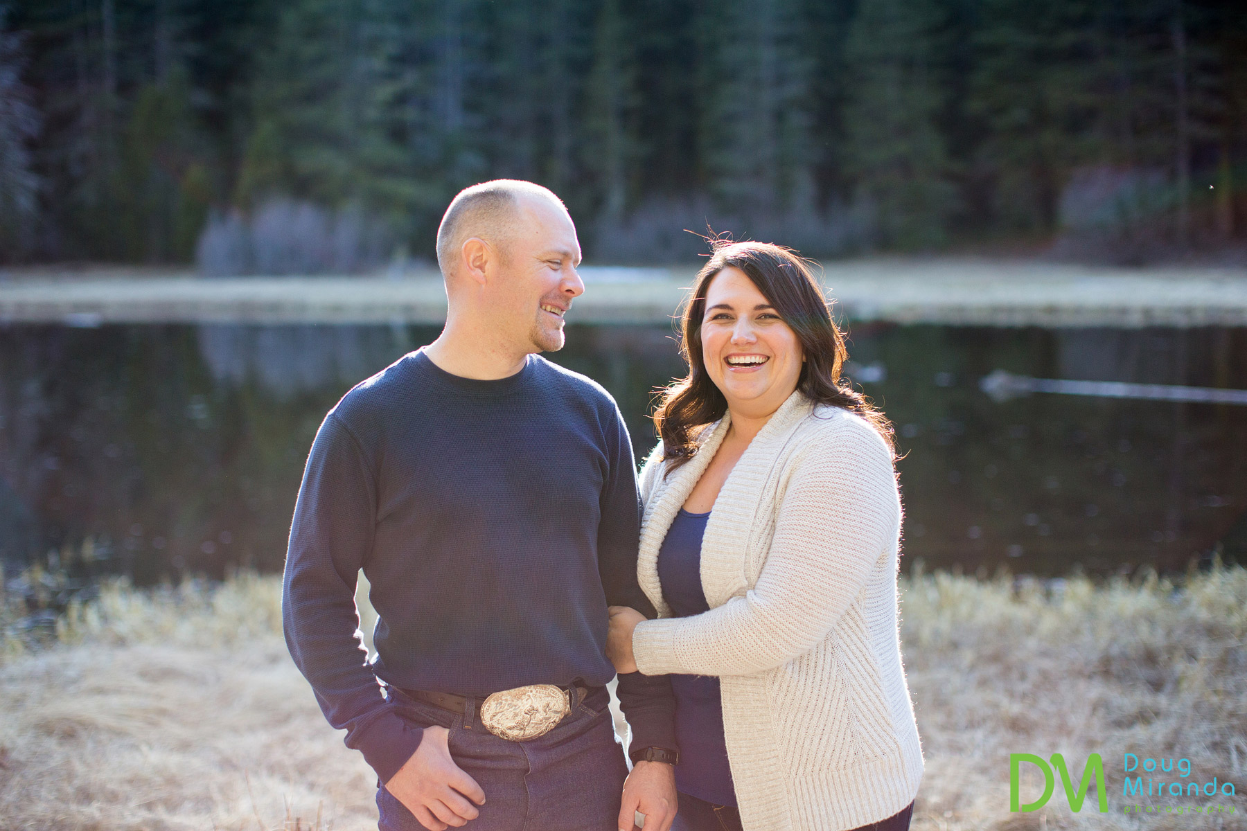 engagement session on the truckee river
