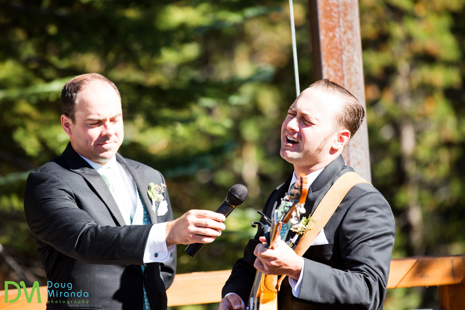 One of Nick's groomsmen played a song from them during the ceremony.