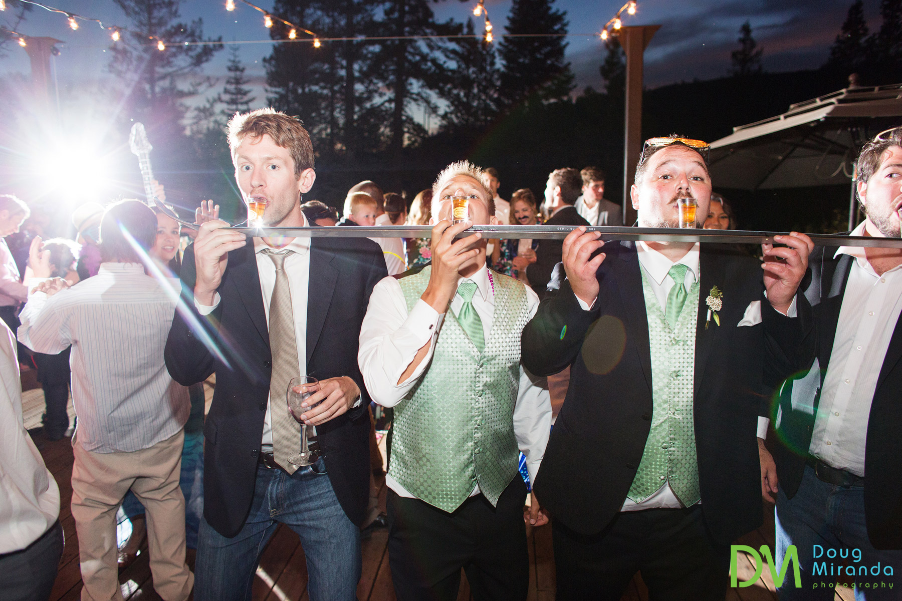 shot skis at a donner pass wedding