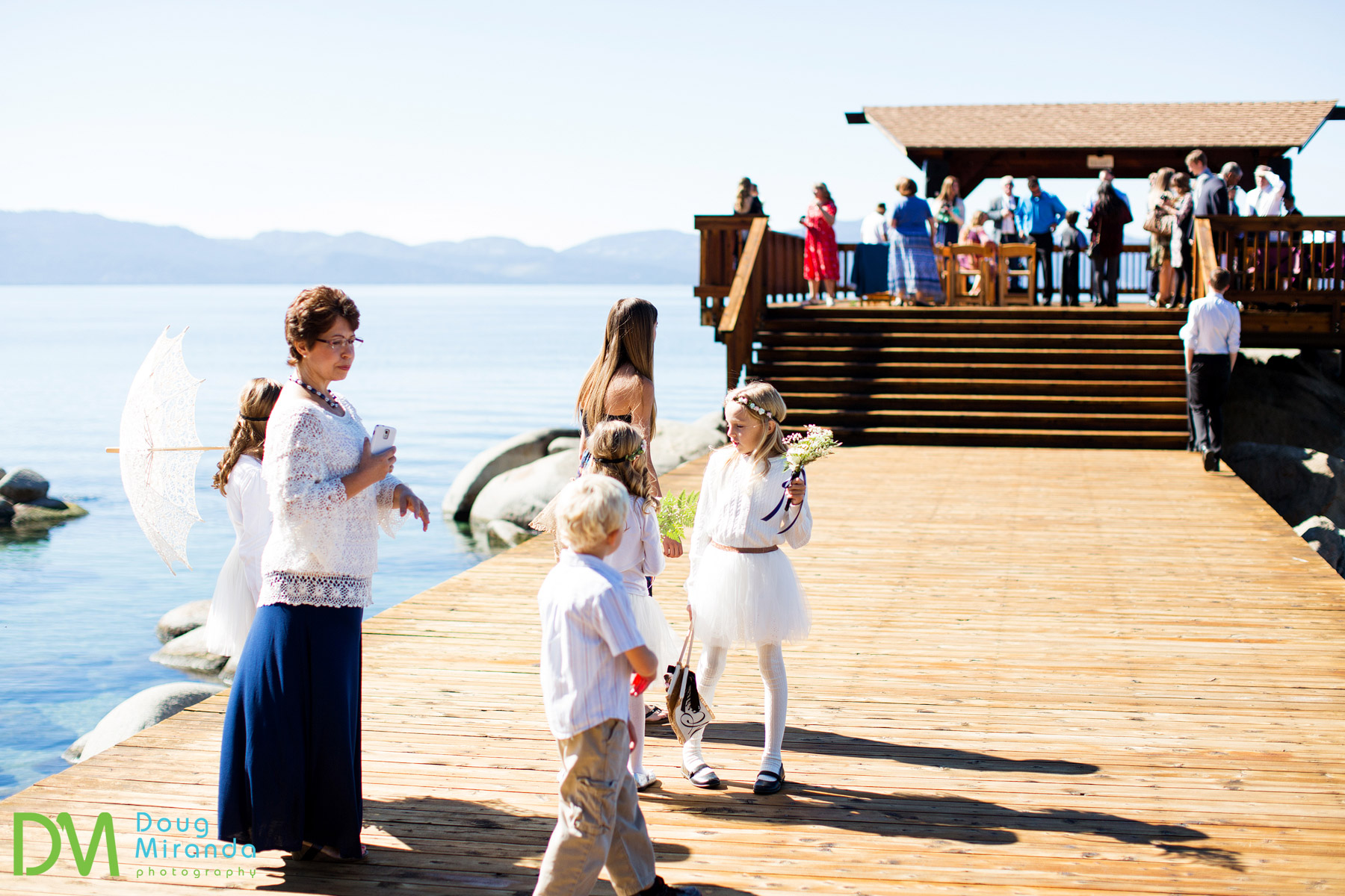 Lake tahoe dock wedding ceremony