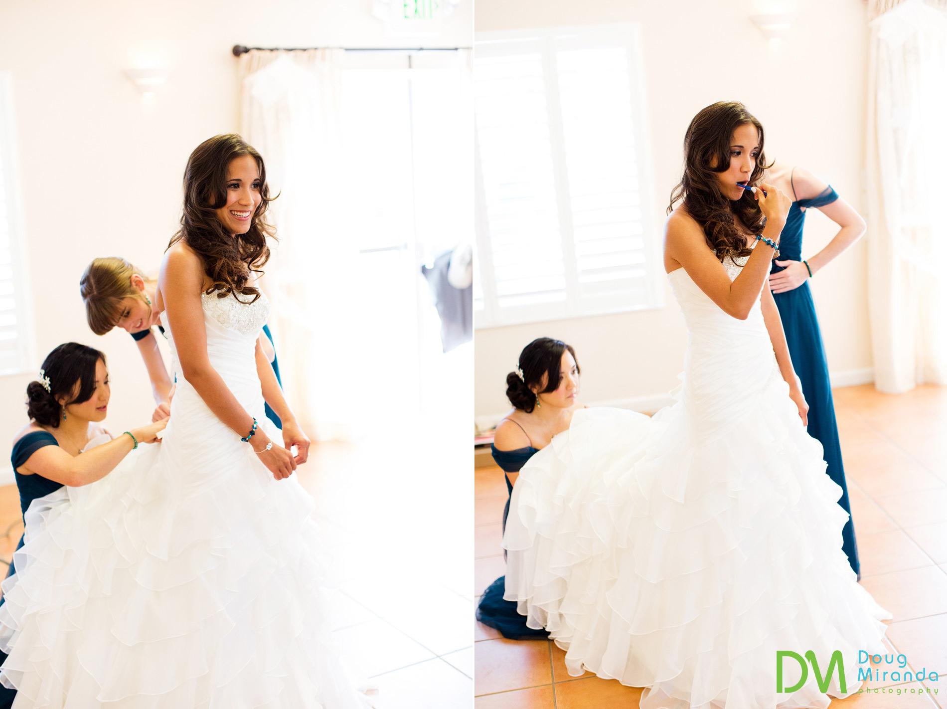 Rosie getting ready for her geyserville inn wedding ceremony