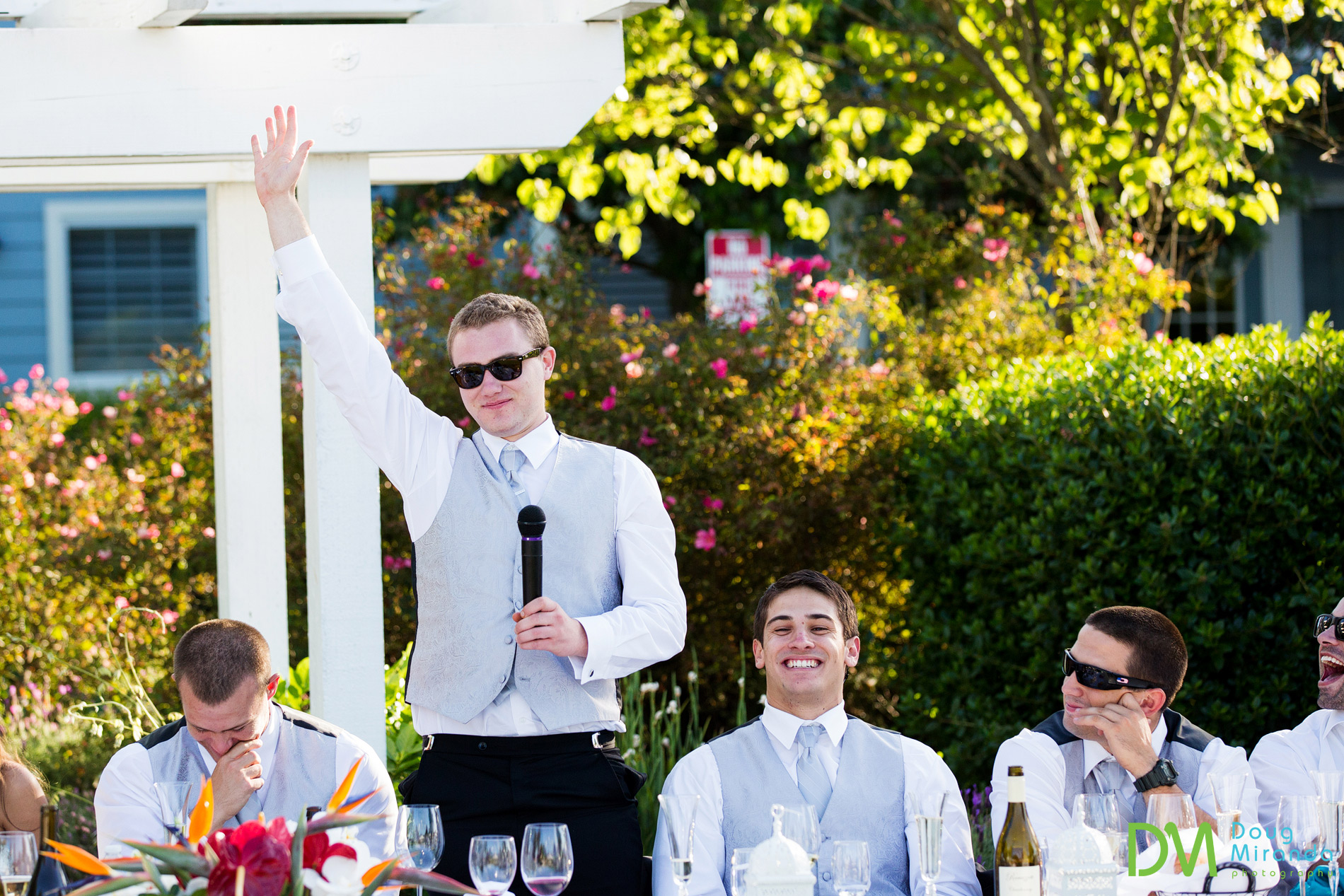 Tommy's bother gave a super funny speech during the reception.