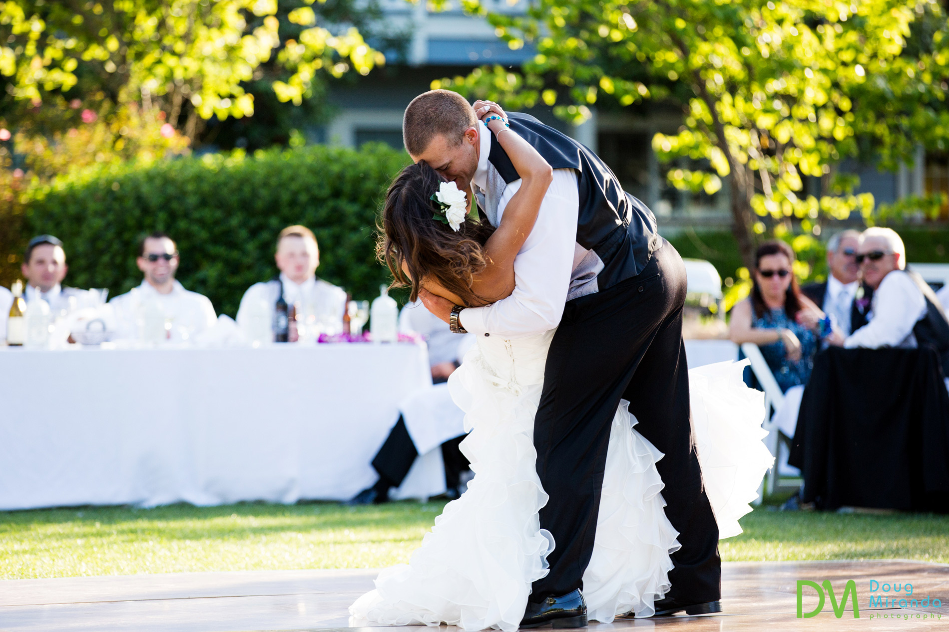Tommy throwing in some dance moves during their first dance.
