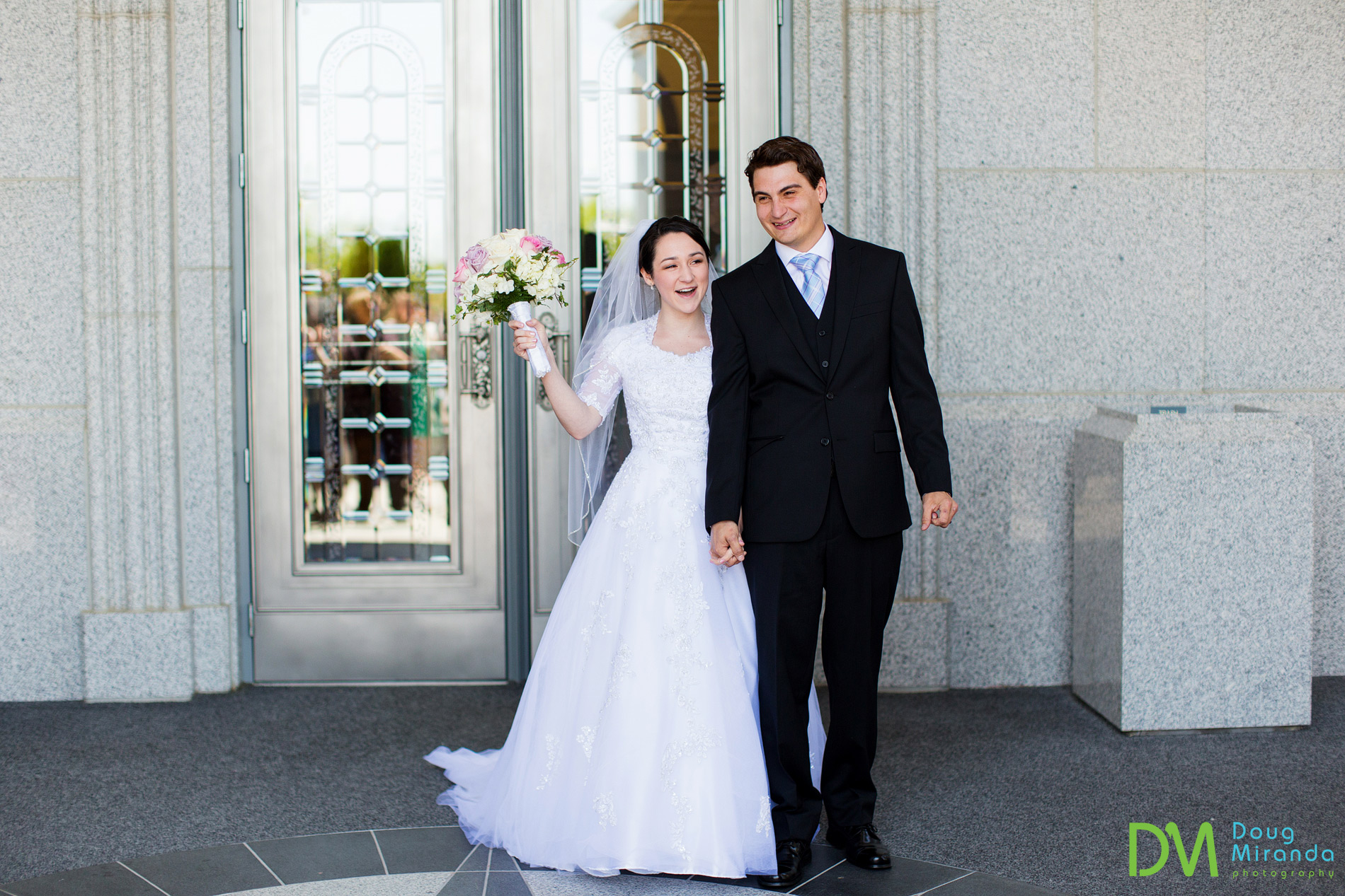 Hailea and Casey coming of the Sacramento LDS Temple as a married couple!!