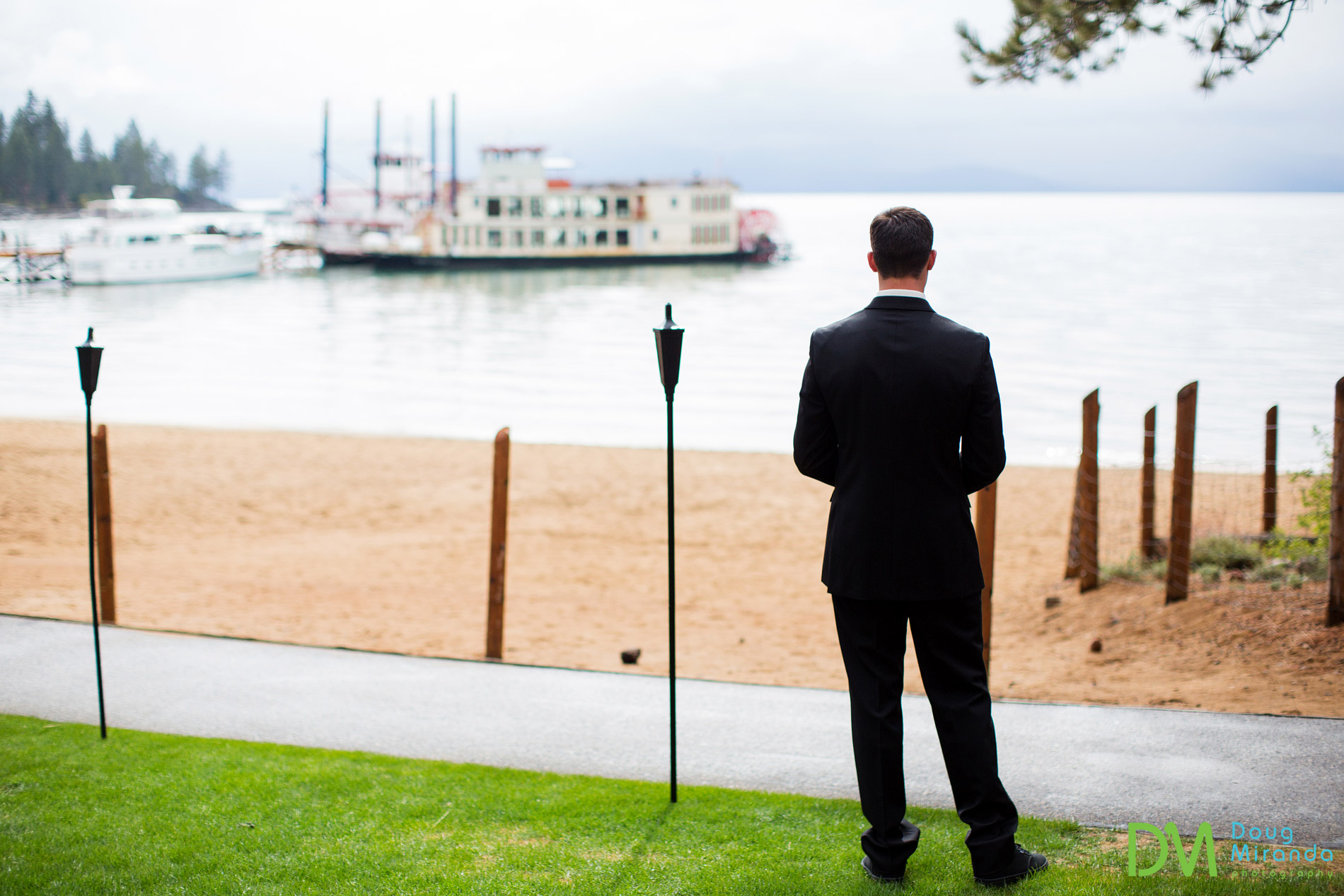 Matt having some alone time before the start of his wedding ceremony at Zephyr Cove Resort.