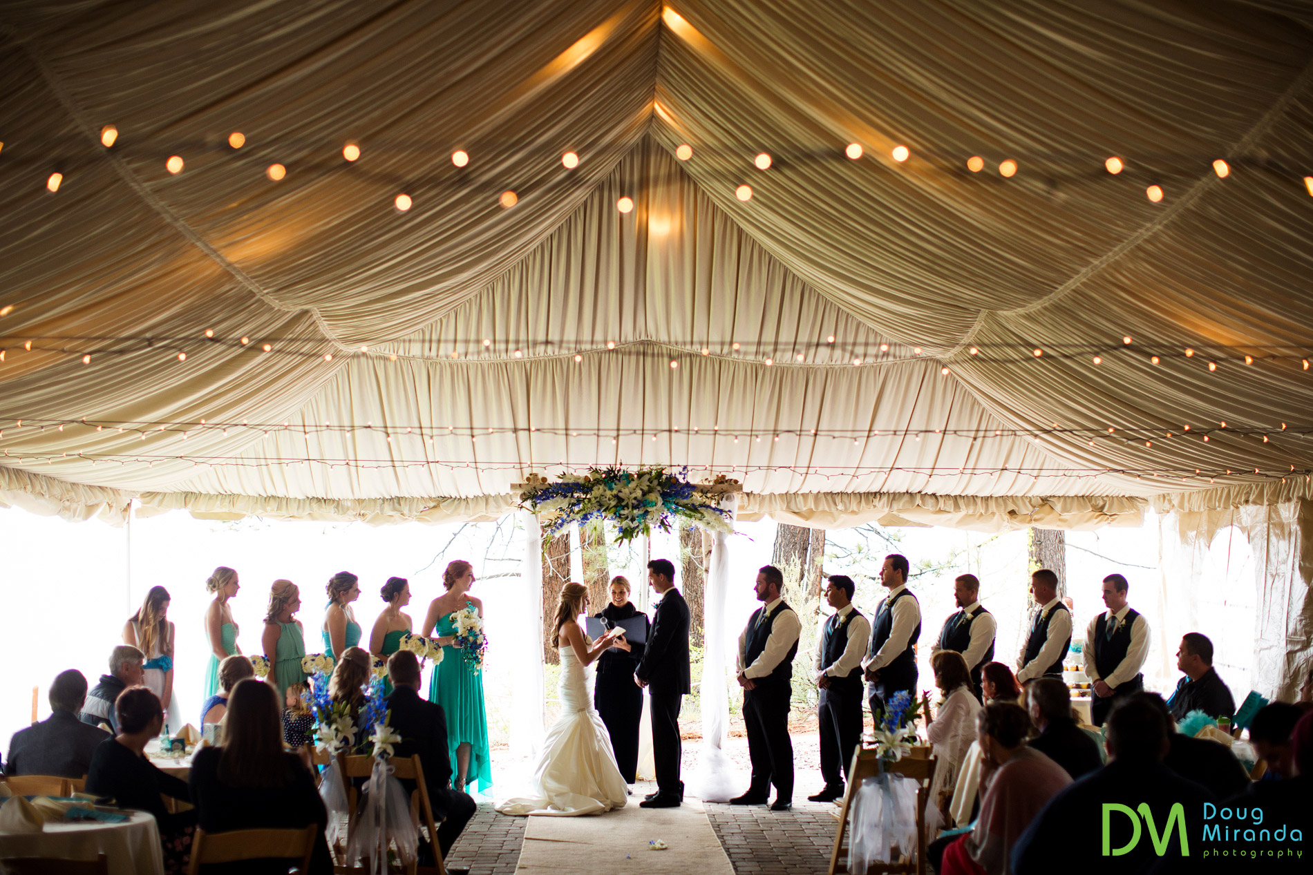 Even though it was raining outside the reception tent at Zephyr Cove still made for a great ceremony location.