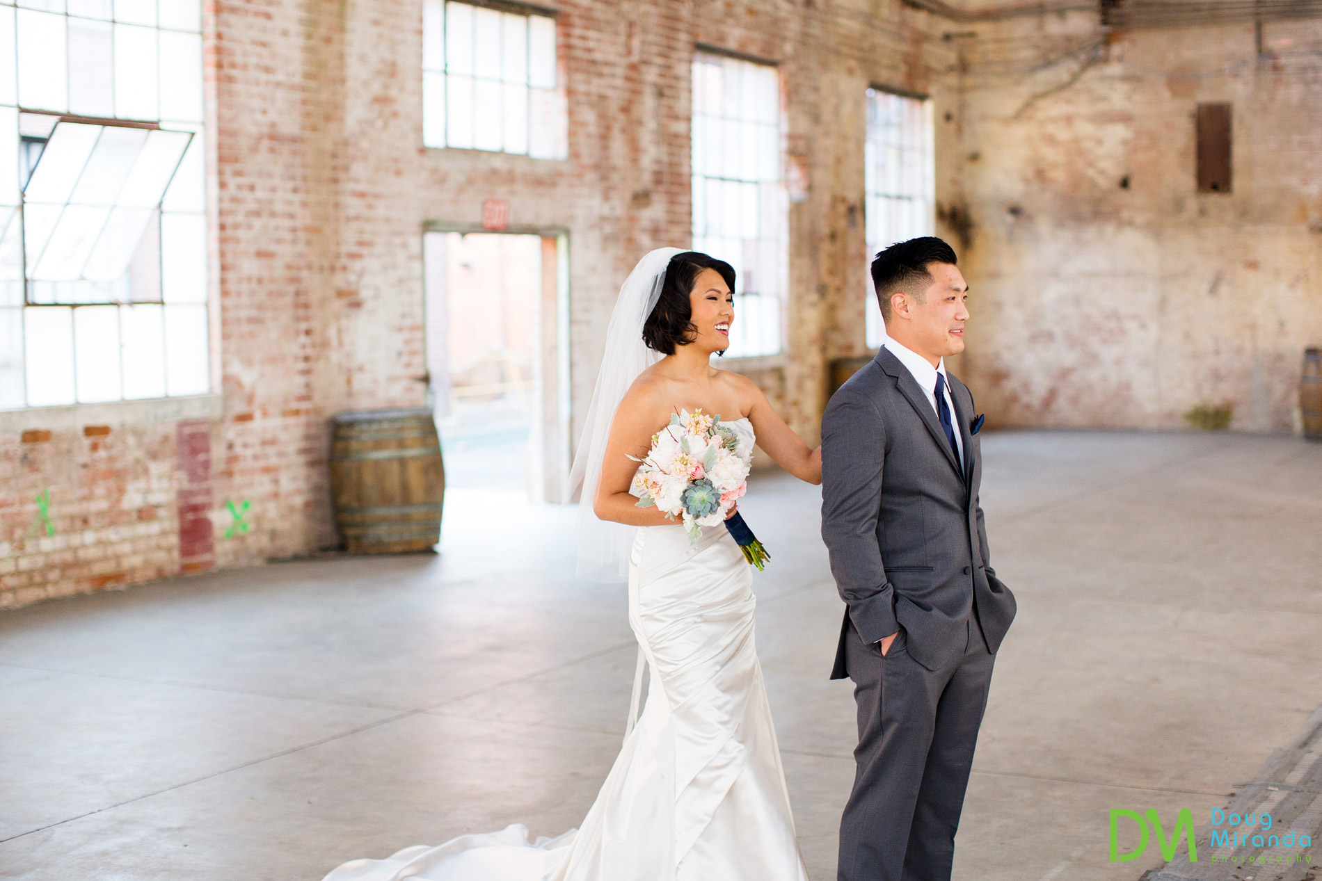 first look old sugar mill wedding