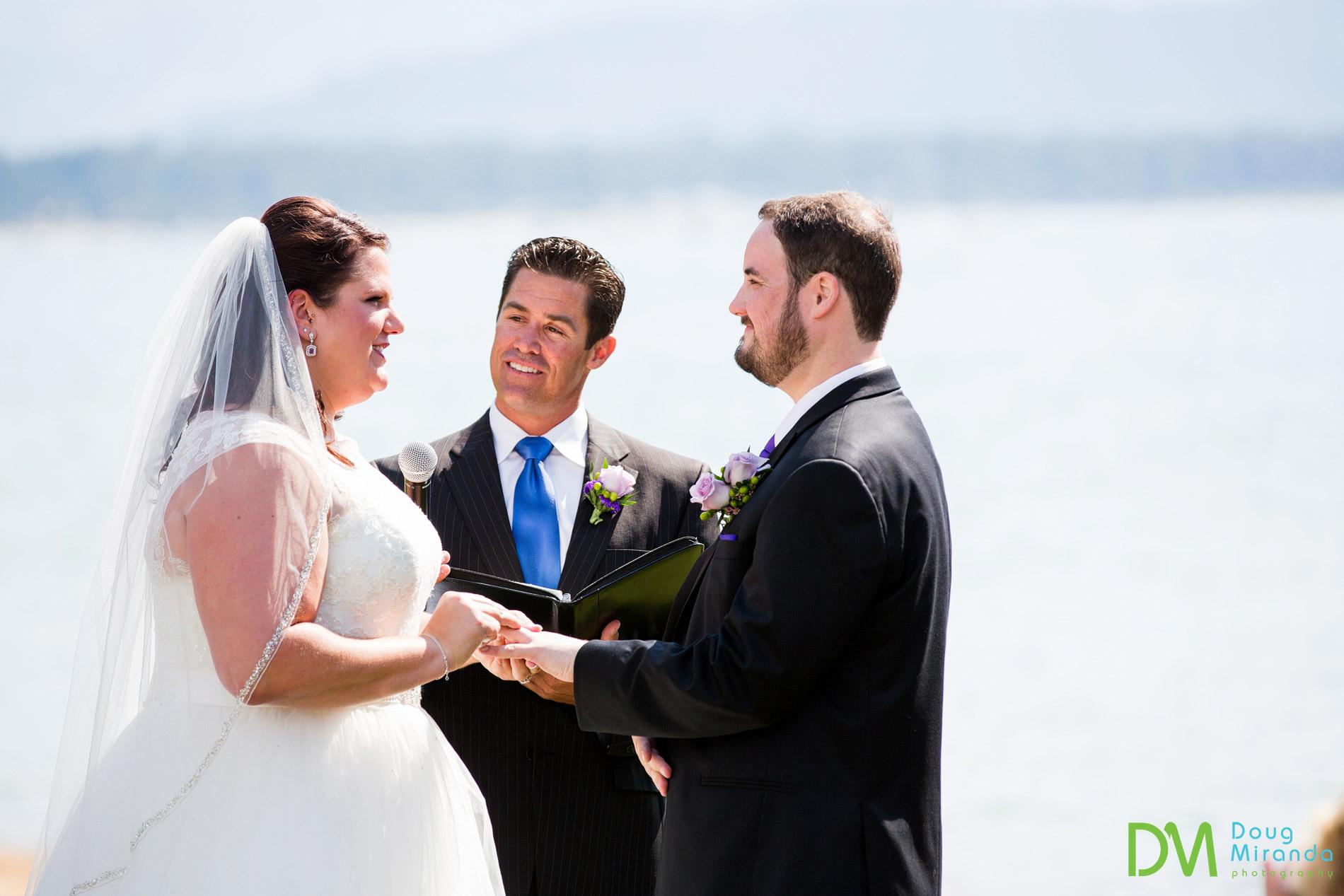 edgewood tahoe beach wedding ceremony