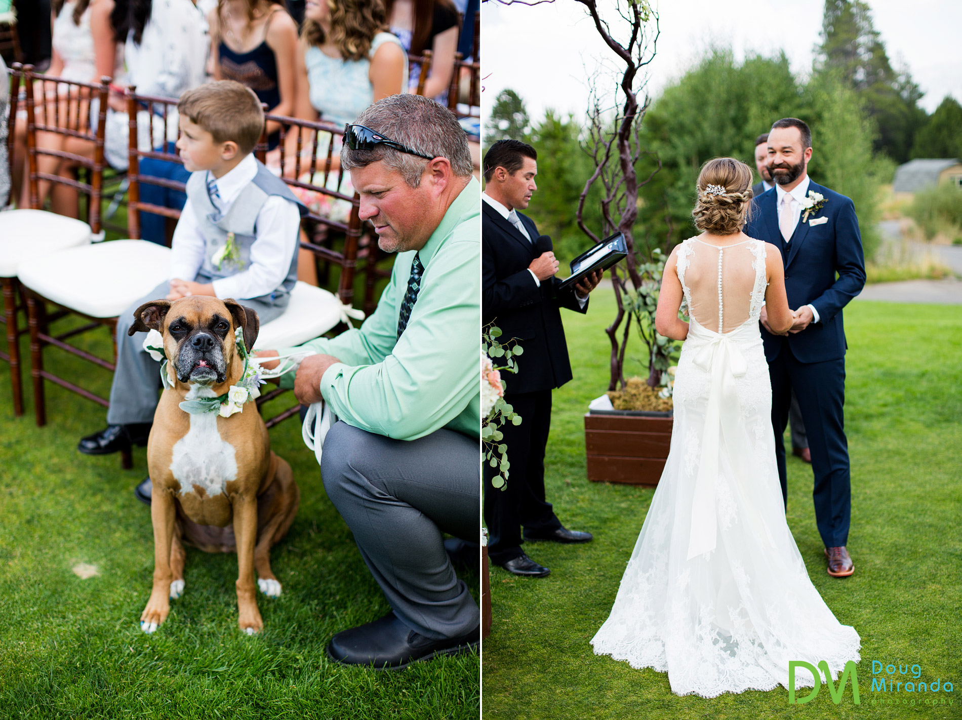 dog flower girl wedding photo