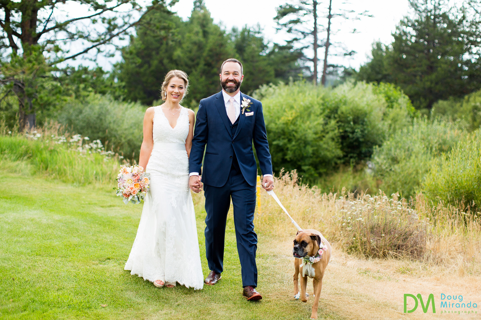 dog flower girl wedding photo