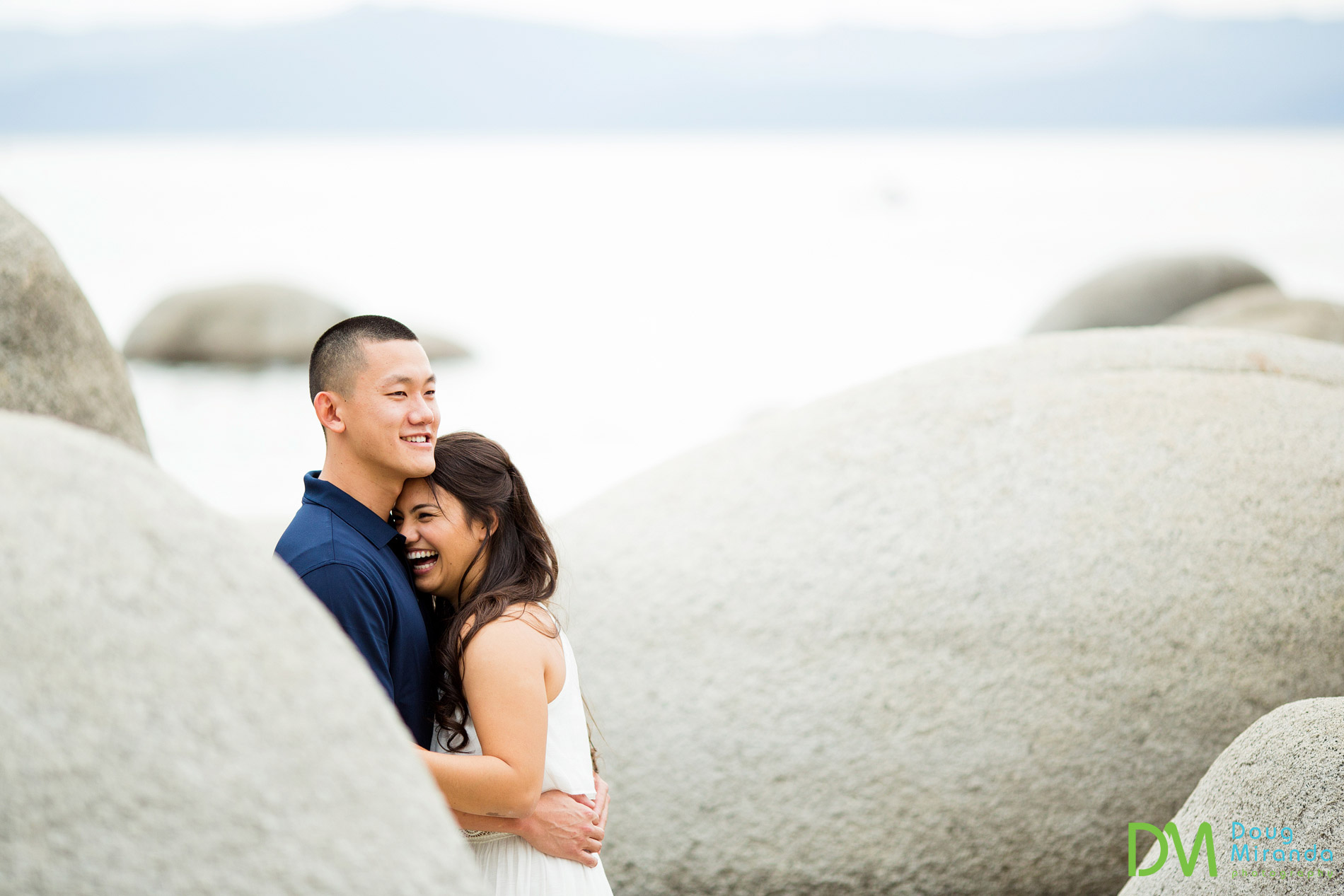 sand harbor engagement photography