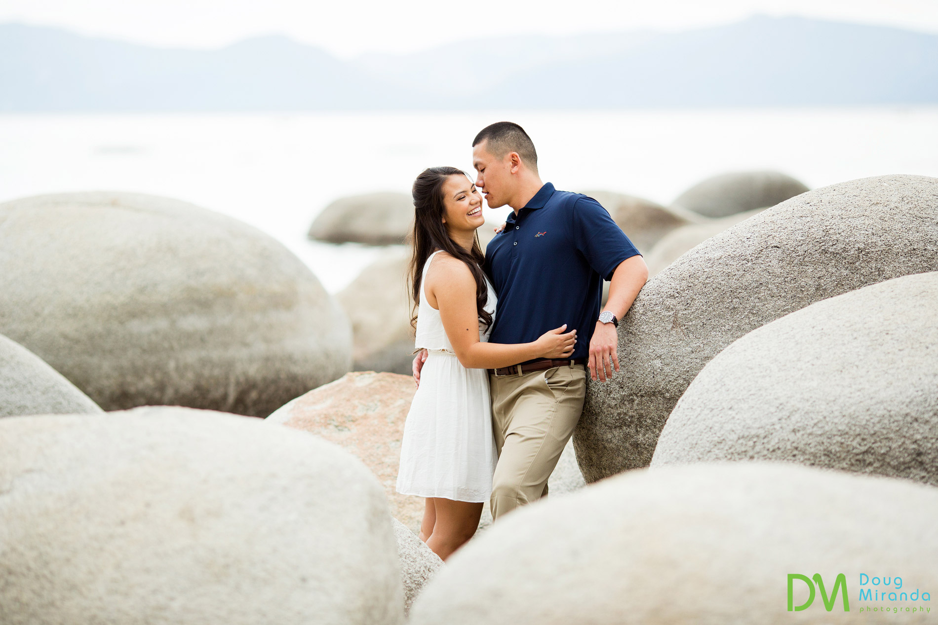 sand harbor engagement photos