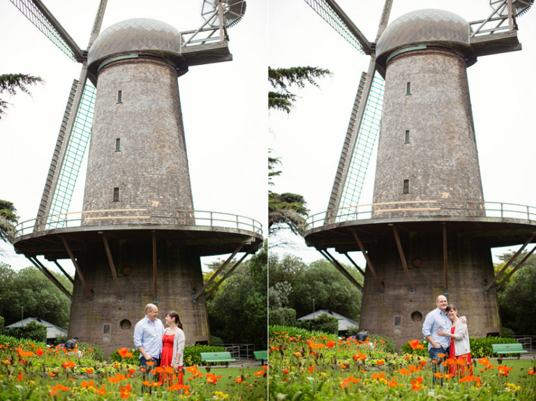 golden gate park engagement photo of abby and craig by the wind mills